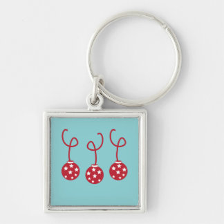 Three Christmas Baubles with stars Keychain