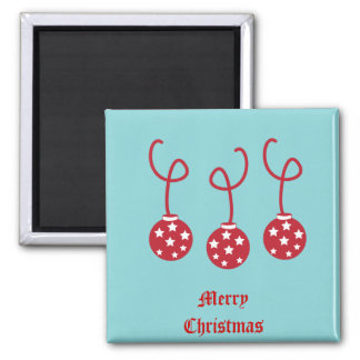 Three Christmas Baubles with stars Refrigerator Magnets