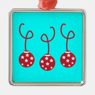 Three Christmas baubles with stars Square Metal Christmas Ornament