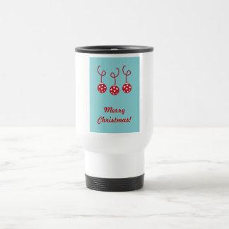 Three Christmas Baubles with stars Travel Mug