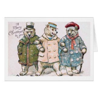 """""""Three Christmas Bears"""" Vintage Card"""