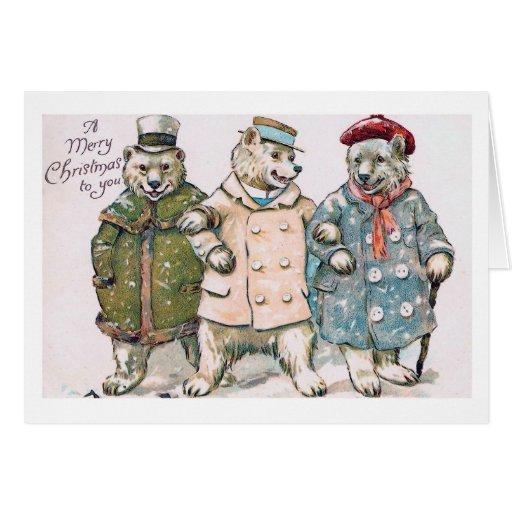 """Three Christmas Bears"" Vintage Cards"