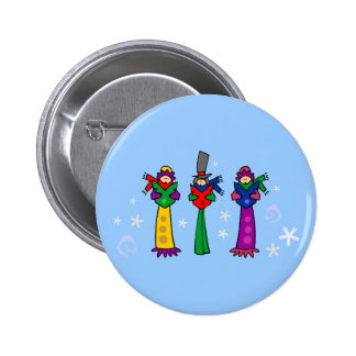 Three Christmas Carolers Buttons