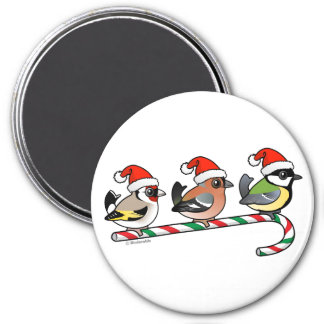 Three Christmas Finches (EU) 3 Inch Round Magnet