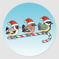 Three Christmas Songbirds (EU) Round Sticker