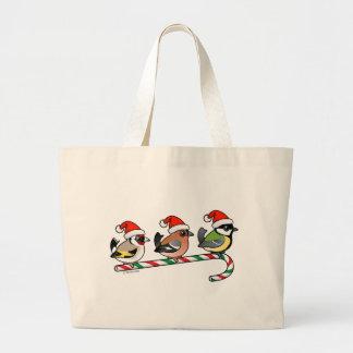 Three Christmas Finches (EU) Large Tote Bag