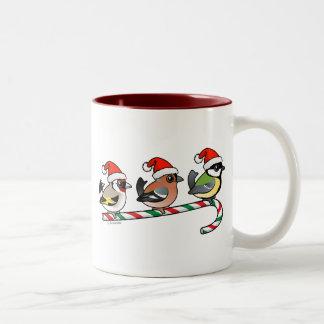 Three Christmas Finches (EU) Two-Tone Coffee Mug