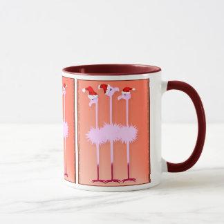 Three Christmas Flamingos  Mugs