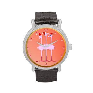 Three Christmas Flamingos Wristwatches