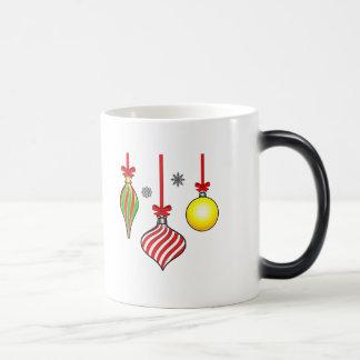 Three Christmas Ornaments with Bows and Snowflakes Magic Mug