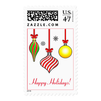 Three Christmas Ornaments with Stripes and Bows Postage