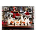 Three Christmas Saint Bernard at the bar Greeting Card