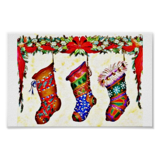 Three Christmas Socks hanging from the chimney for Poster