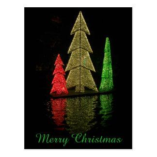 Three Christmas Trees of Lights Postcard