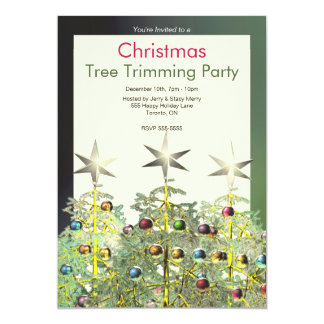 Three Christmas Trees Tree Trimming Party 5x7 Paper Invitation Card