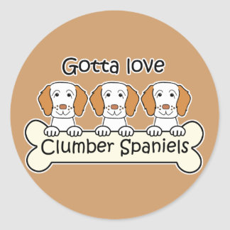 Three Clumber Spaniels Classic Round Sticker