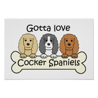 Three Cocker Spaniels Poster