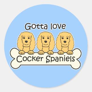 Three Cocker Spaniels Round Sticker