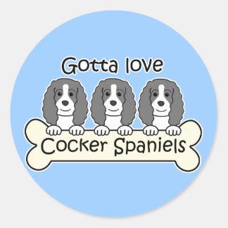 Three Cocker Spaniels Round Stickers