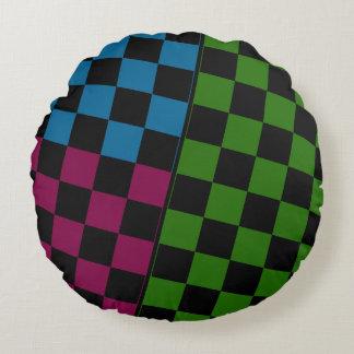 Three Colored Checker Design on Circular Pillow