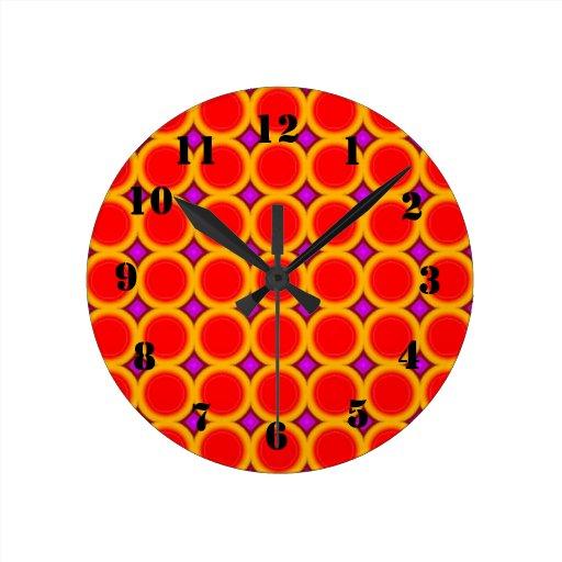three colored circle pattern wall clock