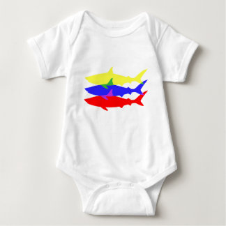 Three Colored Sharks Baby Bodysuit