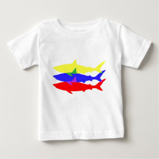 Three Colored Sharks Baby T-Shirt