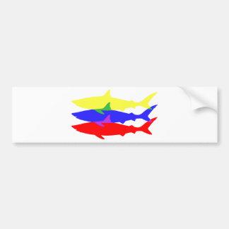 Three Colored Sharks Bumper Sticker
