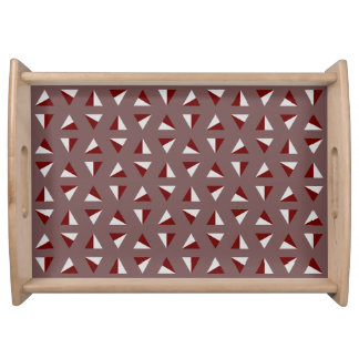 Three Colored Triangles Pattern Design Serving Tray
