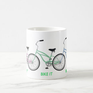 "Three colorful bicycles with the words ""BIKE IT"" Coffee Mug"