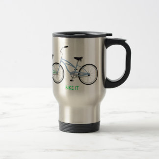 Three colorful bicycles with the words Bike it! Travel Mug