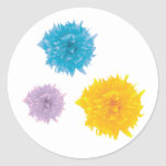 Three Colorful Blooms Classic Round Sticker