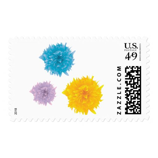 Three Colorful Blooms Stamp