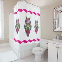 Three Colorful Brown Owls Pink Zig Zag template Shower Curtain