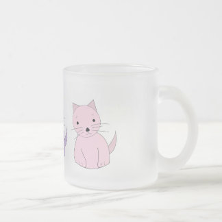 Three Colorful Cartoon Kittens Frosted Glass Coffee Mug