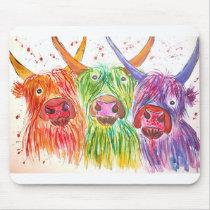 Three Colorful Cows Mouse Pad