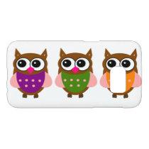 Three Colorful Cute Little Owls Samsung Galaxy S7 Case