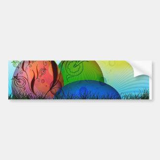 Three Colorful Eggs in Tank Bumper Sticker