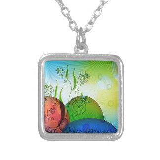 Three Colorful Eggs in Tank Silver Plated Necklace