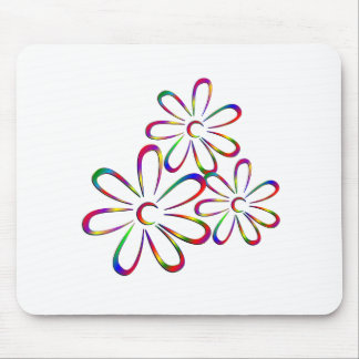 Three Colorful Flowers Mouse Pad