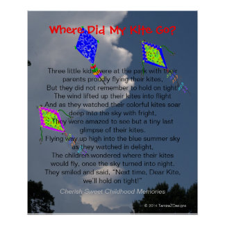 Three Colorful Flying Kites Fluffy Clouds Poem Poster