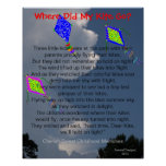 Three Colorful Flying Kites Fluffy Clouds Poem Print