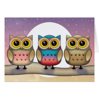 Three Colorful Owls and a Full Moon Card