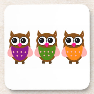 Three Colorful Owls Coaster