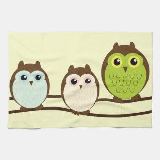 Three Colorful Owls Hand Towel