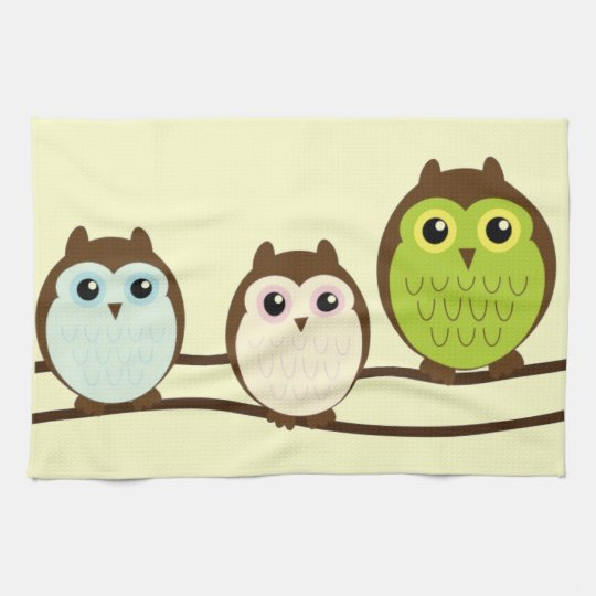 Three Colorful Owls Hand Towel