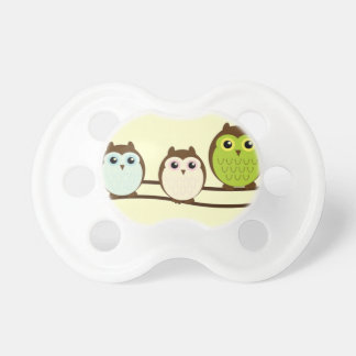 Three Colorful Owls Pacifier