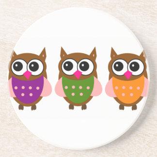 Three Colorful Owls Sandstone Coaster