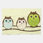 Three Colorful Owls Towels