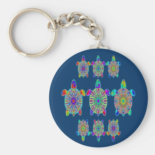 Three Colorful Turtles Keychain
